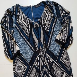 Fab'rik Shift Dress 3/4 Sleeve Geometric Tribal